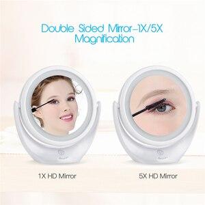 Image 3 - Maquiagem espelho tela sensível ao toque 1x 5x lupa led espelho 360 graus de rotação ajustável dupla face espelhos cosméticos tabela 45