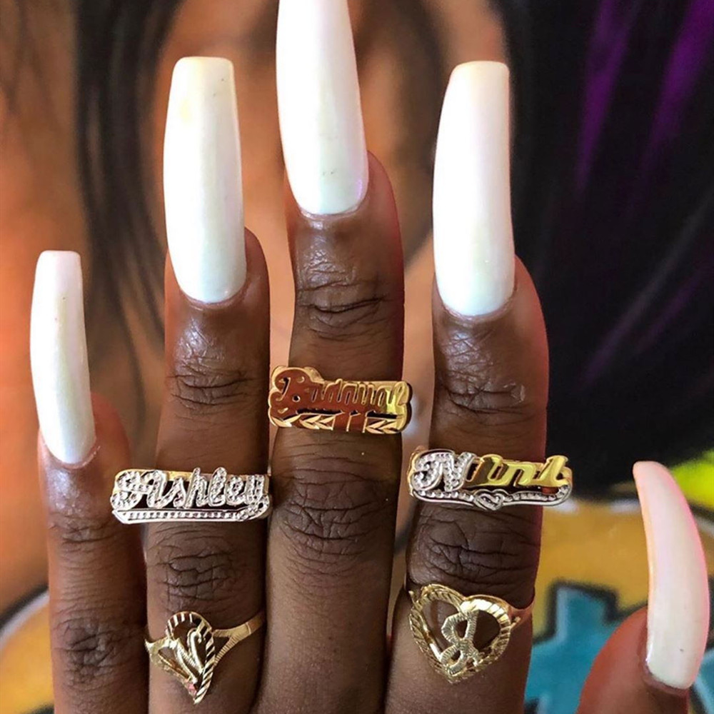 AurolaCo New Personality Hip Hop Ring Women Custom Name Ring Gold Fashion Punk Letter Ring Gift
