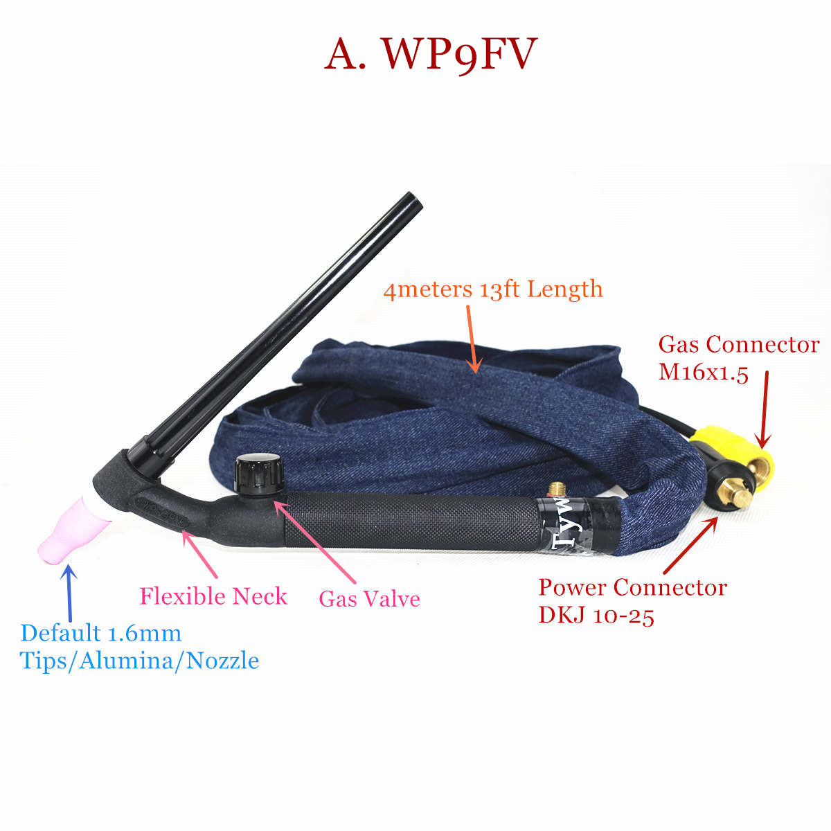 Tools : WP9FV TIG Torch 4m 13ft Gas Tungsten Arc Welding Torch WP9 Argon Air Cooled Flexible Neck Gas Valve TIG Welding Torch