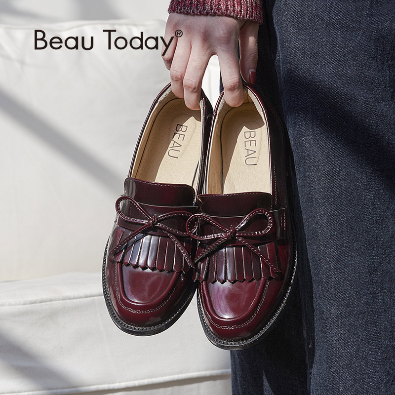 BeauToday Women Moccasin Loafers Handmade Tassel Bowknot Round Toe Slip On Genuine Leather Top Quality Lady