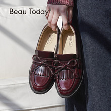 BeauToday Women Moccasin Loafers Handmade Tassel Bowknot Round Toe Slip-On Genuine Leather Top Quality Lady Shoes 27064 beautoday monk shoes women buckle straps genuine leather calfkin round toe lady flats handmade brogue style shoes 21408