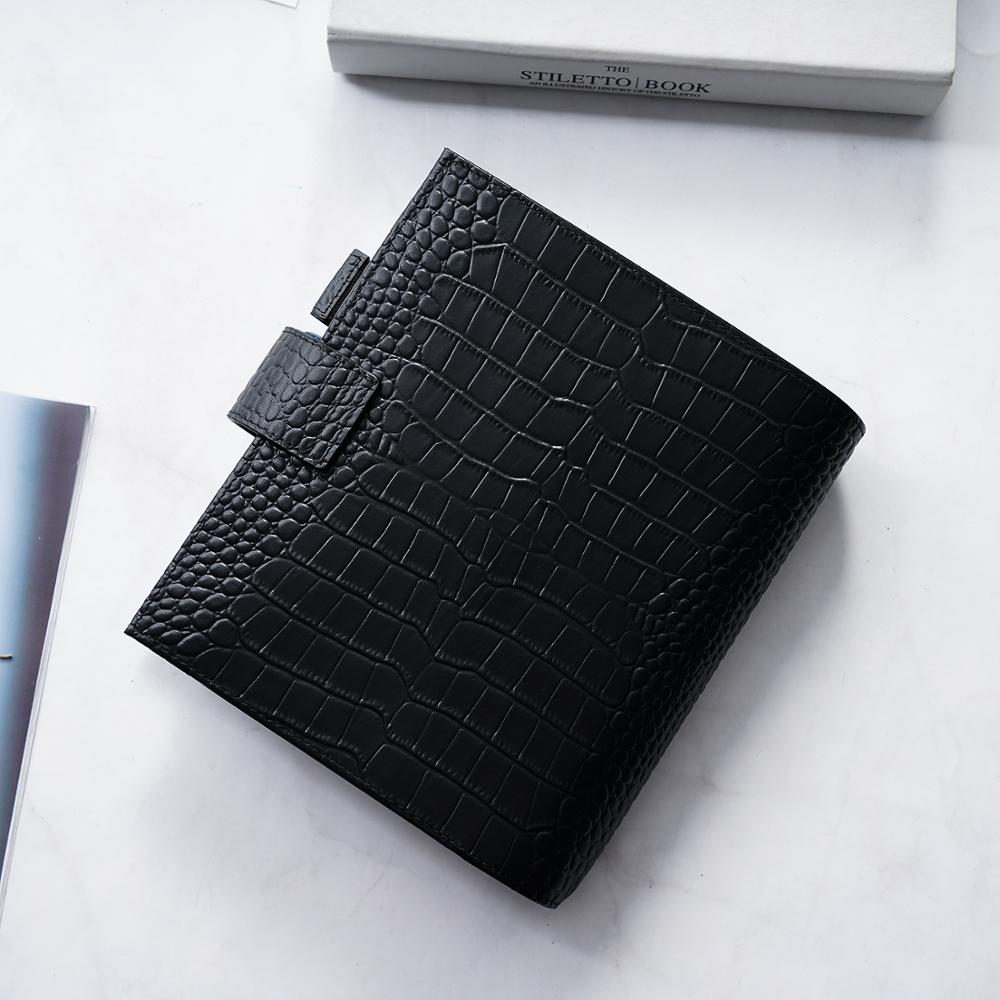 Moterm Luxe Series Personal Wide Size Planner with 30 MM Silver Rings Croc Grain Leather Notebook Cowhide Organizer Agenda 5