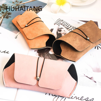 HUHAITANG New Fashion Lens Case Scrub Purse Leather Box Ladies Elegant Sunglasses Portable Storage