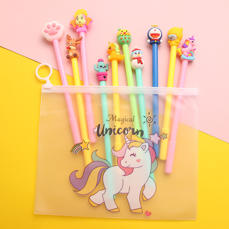 10pcs Cute Cartoon Gel Pens Magical Unicorn Bag Set Black Color Ink Ballpoint 0.5mm Pen For Writing Gift Office School A6911