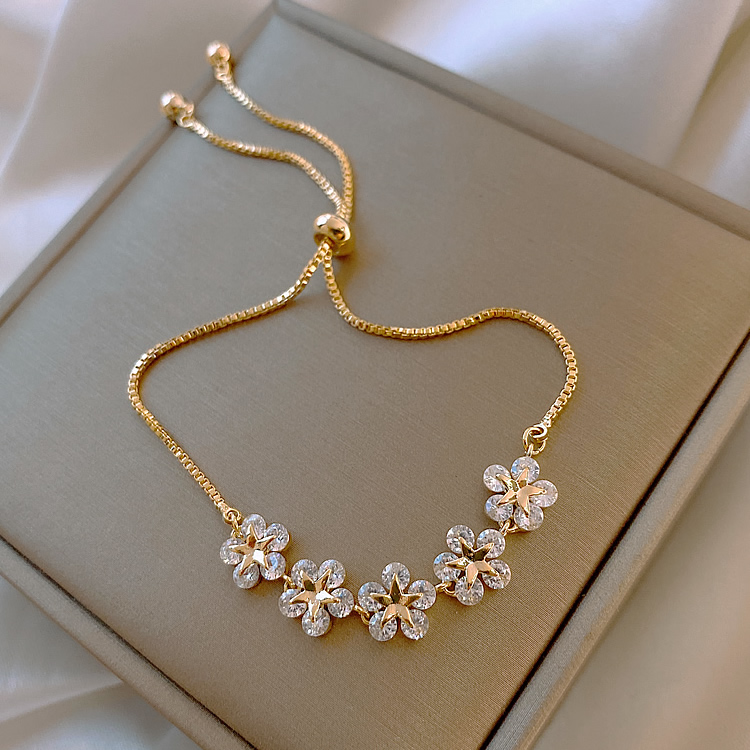 2020 nuovo design coreano gioielli di moda di fascia alta fiore di lusso zircone regolabile braccialetto femminile prom party 1