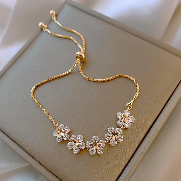 2020 Korean new design fashion jewelry high-end luxury flower zircon adjustable female prom party bracelet