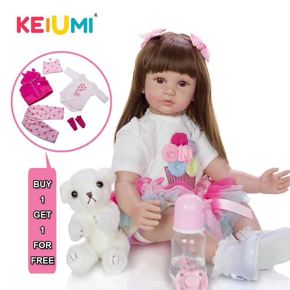 60cm Long Hair Realistic Reborn Baby Girl Silicone Vinyl Lifelike Toddler