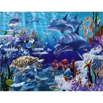 Diy pintura de diamante punto de cruz tortuga de mar 5D bordado completo de diamantes delfín cuadrado diamante kit para hacer mosaicos imagen de diamantes de imitación