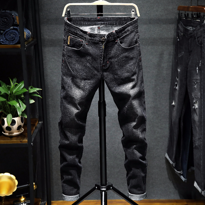 2019 New Skinny Design Men's Jeans Elastic CottonPencil Pants Stretch Slim Jeans Men