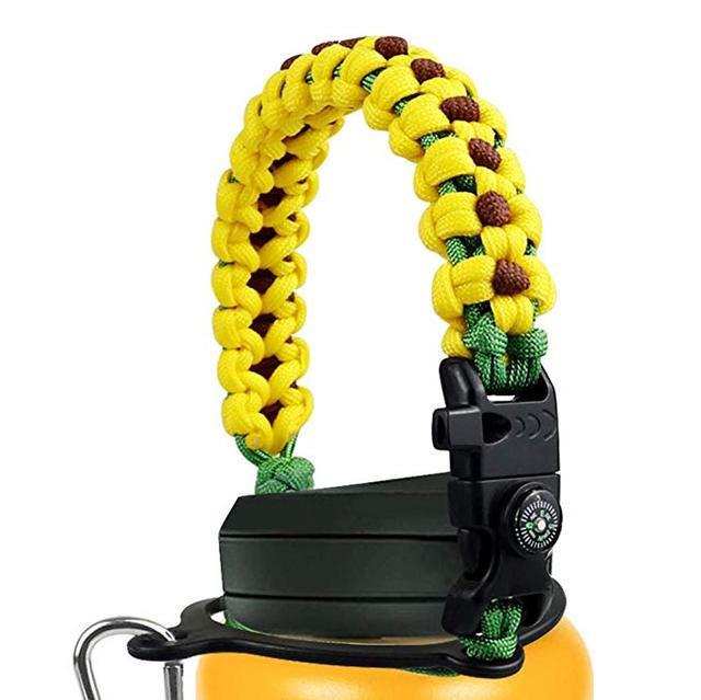 Paracord Handle Compatible with Hydro Flask Wide Mouth Water Bottle  Survival Strap Cord with Safety Ring, Carabiner Compass 1