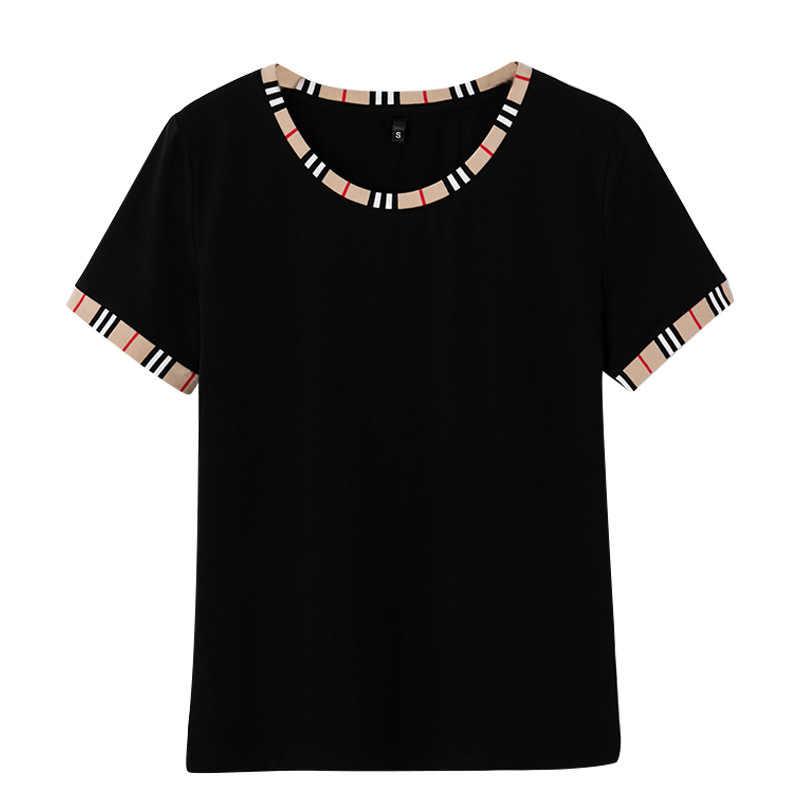 Nieuwe 2020 Korte Mouw T-shirt Vrouwen Koreaanse Stijl Populaire Ronde Hals Stiksels Slim Eenvoudige Top Vrouwen Kleding Tee Shirt femme