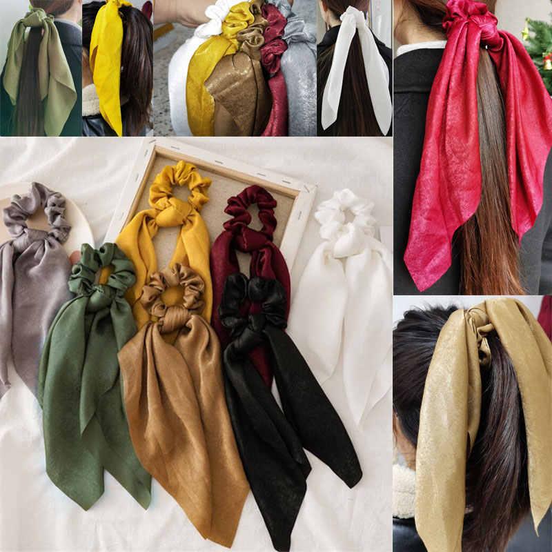 Mode multicolore chapeaux Turban pour les femmes grand nœud banderoles cheveux chouchous ruban cheveux cravates prêle cravates solide tête enveloppement
