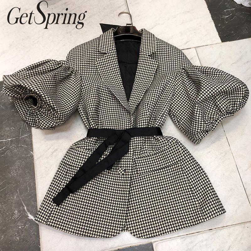 GetSpring Women Blazer Single Breasted Puff Sleeve Plaid Ladies Blazer Coat Retro Lace Up Women's Slim Suit Jacket Autumn 2019