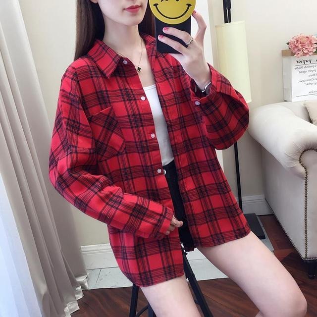 2020 fashion  summer blouse long sleeve female plaid shirt tops cotton vintage korean novelty streetwear loose 3