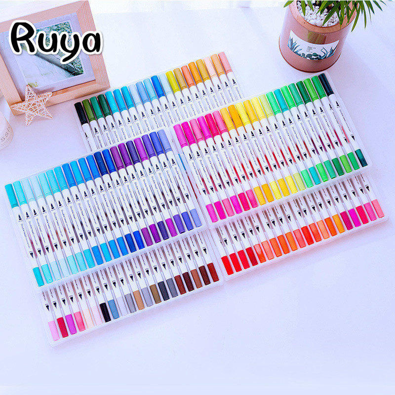 Watercolor Brush Pen For School Stationery Arts Student Line Pen Stabilo Copic Markers Highlighters Manga Colores Drawing Set