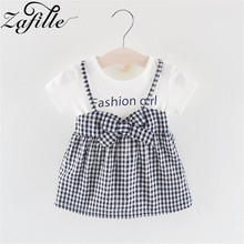 ZAFILLE Baby Girl Clothes Summer Dress Patchwork Girls Dress Plaid Baby Clothes Newborn Infant Kids Dress Cute Girls Dresses girls zip back raw hem plaid dress