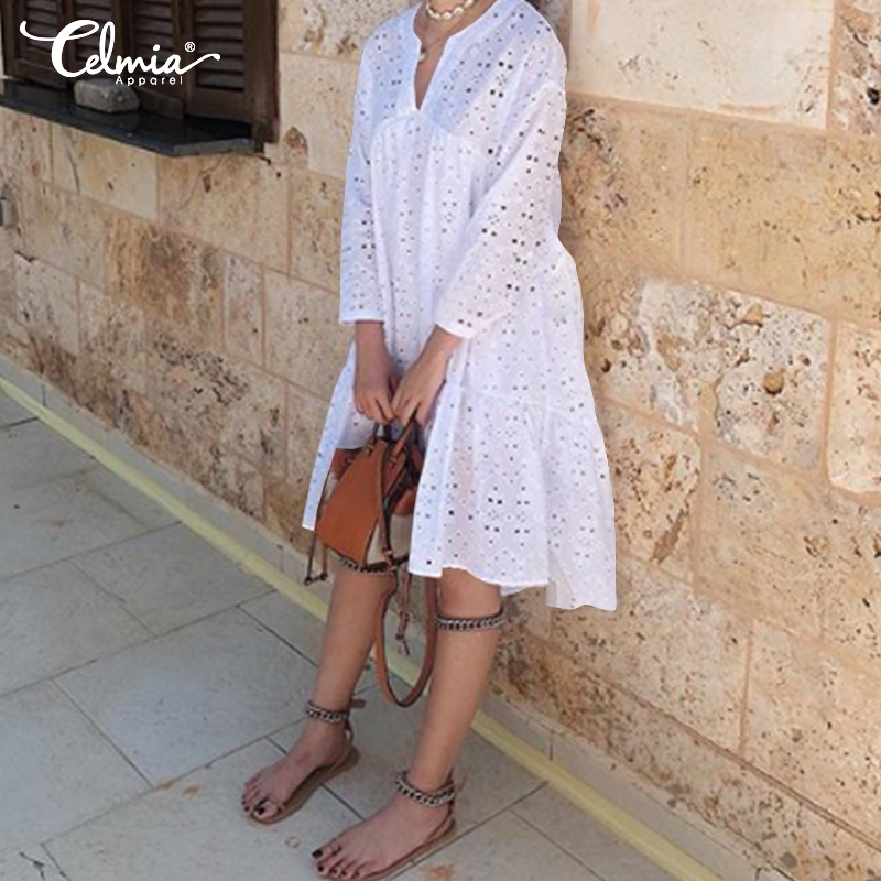 Bohemian Women Party Dress Celmia 2019 Summer Sundress Casual Loose Sexy Hollow Cotton Knee-length Vestidos Robe Mujer Plus Size