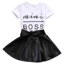 Fashion Girls Summer Clothes 1-6Years Toddler Kids Baby Girl mini boss Printed T-shirts+PU Leather Skirts Outfits 2Pcs Set