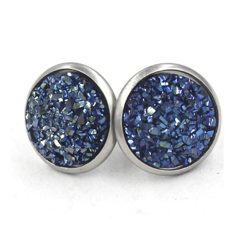 He40e99fdb6bb499481f2b8b55f65e9bce - Fnixtar 12mm 100% Stainless Steel Shinning Resin Stud Earring for Women Top Quality Fashion Earrings Party Ear Jewelry