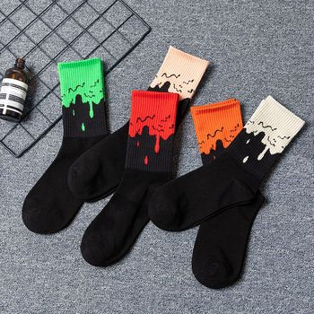 Men Fashion Hip Hop Black powder toe dirty flowing men Crew Socks basketball tide unisex  Street Skateboard Cotton - discount item  38% OFF Men's Socks