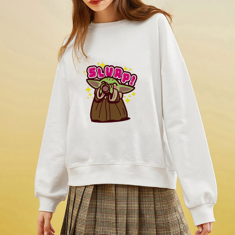 Showtly Kawaii Harajuku Funny Slurp The Mandalorian Baby Yoda Oversized Hoodies Sweatshirt Autumn Winter Women Loose Long Sleeve
