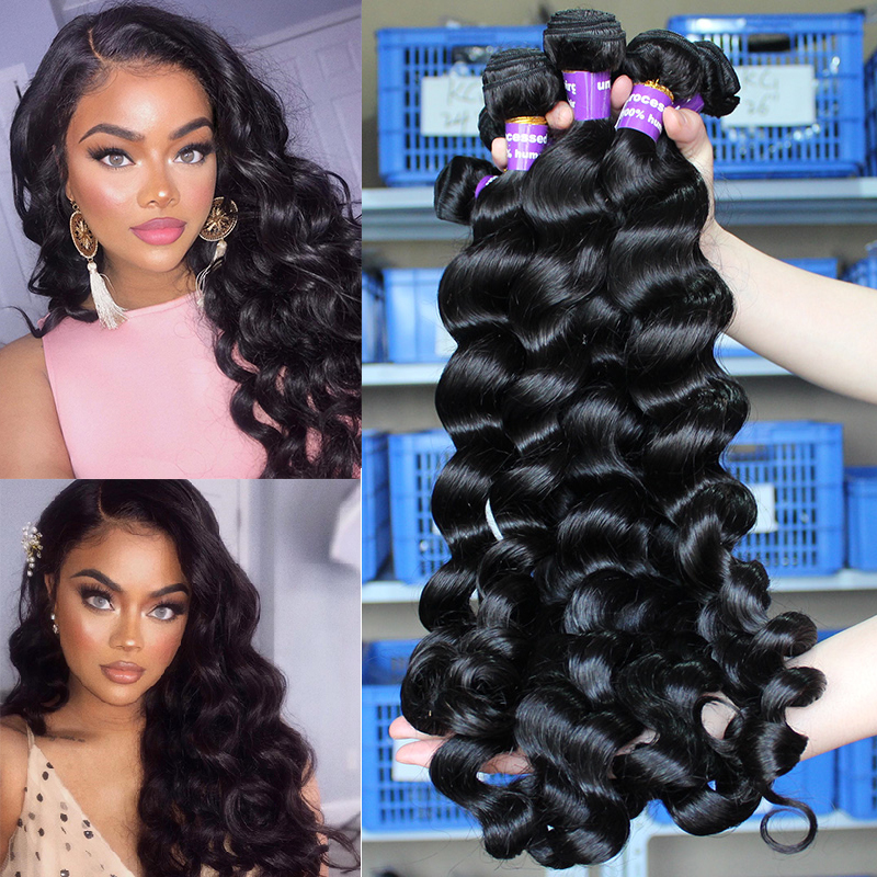 Loose Wave Human Hair Bundles With Closure Hair Extension Brazilian Virgin Hair Weave Bundles 100% Human Hair Deep Ever Beauty