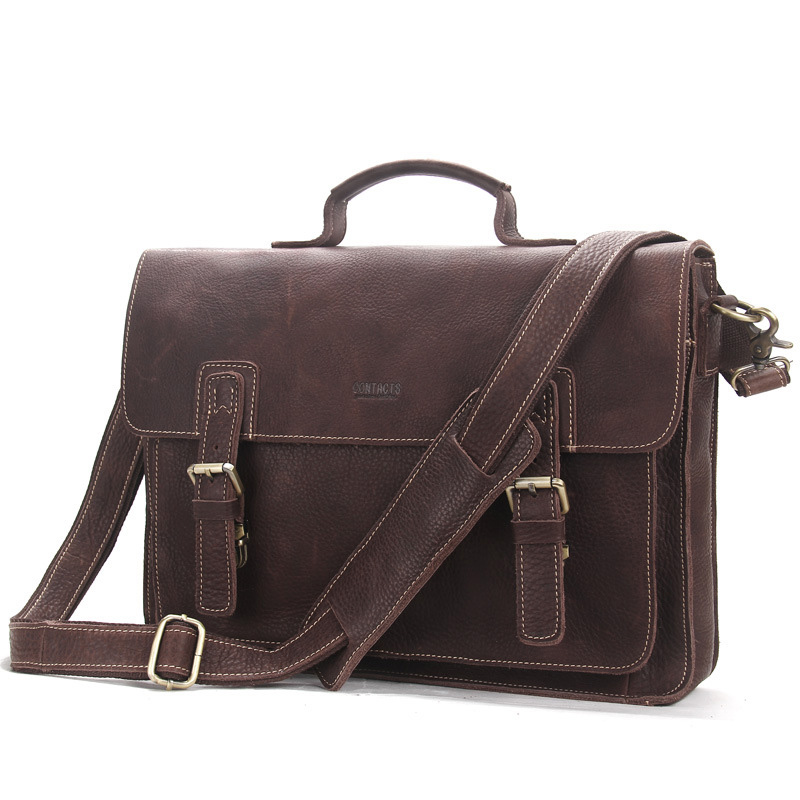 Casual Men Genuine Leather Briefcase Large Capacity Men Cow Leather Briefcase For Laptop Hasp Handbags Solid Male Shoulder Bag