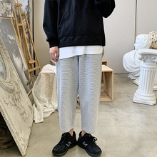 Striped Pants Men Fashion Contrast Casual Straight Drawstring Cotton Streetwear Hip Hop Loose Joggers Sweatpants S-2XL
