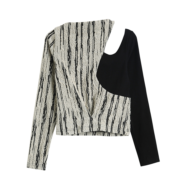[EAM] Women Black Striped Hollow Out Temperament T-shirt New Round Neck Long Sleeve  Fashion Tide  Spring Summer 2020 1W148 2