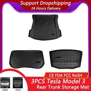 Trunk Mats Customized Car Rear Trunk Storage Mat Cargo Tray Trunk Waterproof Protective Pads Mat Compatible For Tesla Model 3 фото