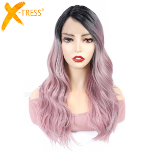Image 4 - Ombre Brown Blonde Pink Synthetic Lace Front Wigs Long Body Wave Side Part Blue Grey Cosplay Hair Wig X TRESS African Hairpiece