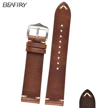BEAFIRY Oil-Tanned Leather 18mm 20mm 22mm Watch Band Genuine straps for Samsung Huawei Light Brown Dark Belt
