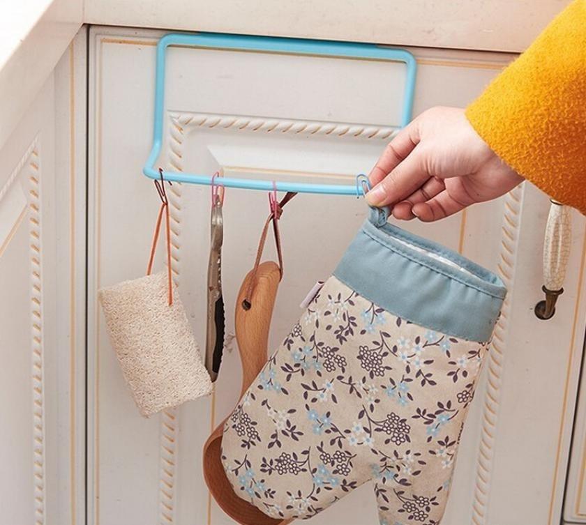 Дверная вешалка для чайных полотенец, подвесной держатель, рельсовый Органайзер, вешалка для шкафа в ванной комнате, кухонные аксессуары TSLM