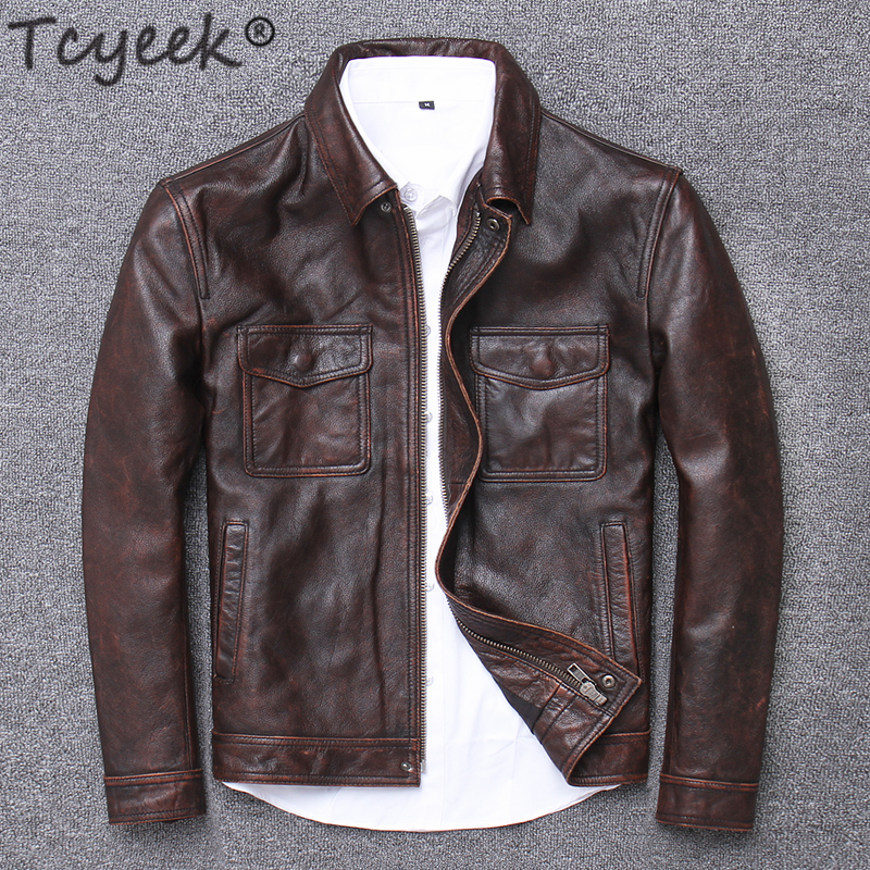 Tcyeek 100% Real Leather Jacket Men Autumn Winter Clothes 2019 Streetwear Fit Genuine Cow Leather Coat Men's Leather Jacket 1790