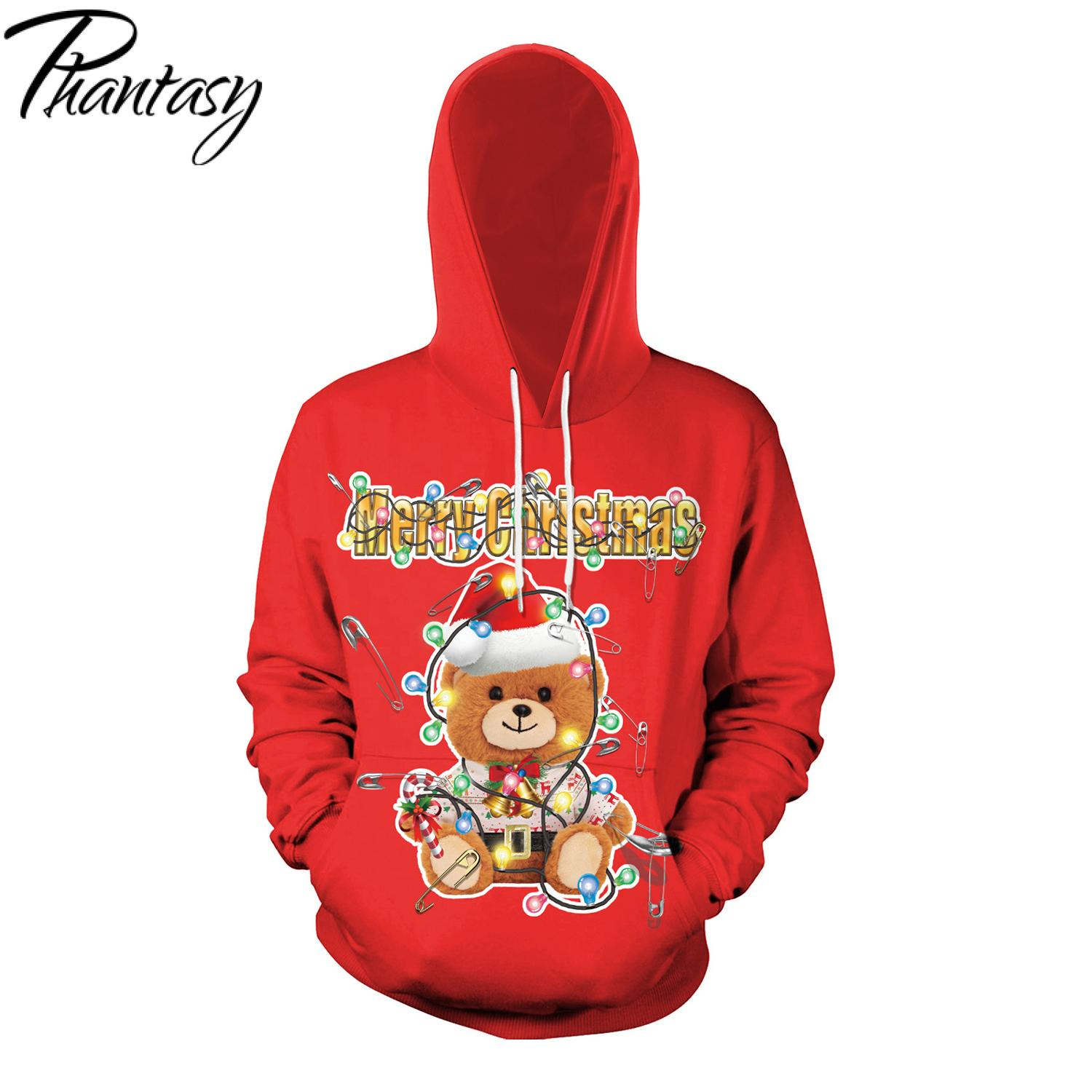 Christmas Sweatshirts 2020 Phantasy 2020 Merry Christmas Sweatshirt Women/Men Hoodie Bear