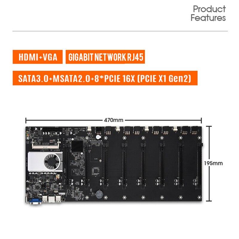 BTC-T37 Mining Motherboard VGA 8PCIE 16X 8GPU Video Card Support 1066/1333/1600MHz DDR3/DDR3L BTC-T37 Mining Motherboard 3