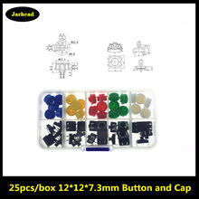 Smart Electronics 25PCS Tactile Push Button Switch Momentary 12*12*7.3MM Micro Switch Button + 25PCS Tact Cap(5 colors)(China)
