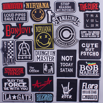 Letter Patch Letter Embroidery Patches for Clothes DIY iron on Stripes Punk Rock Patches For Jacket clothing Applique Badges punk patch diy embroidery patches for clothing stickers badge hippie rock patch for t shirt applique iron on patch on clothes