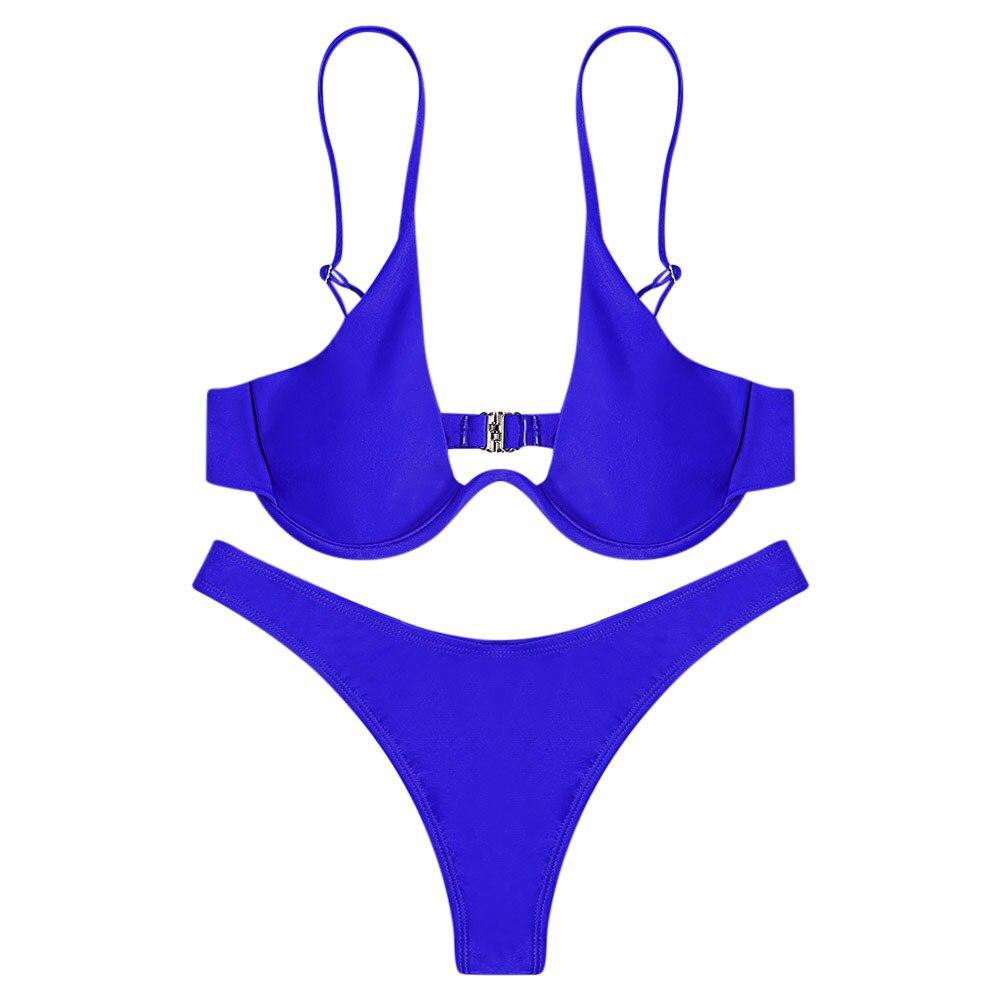 Women Sexy Bikini Set Plunging Neck Thong Low Waisted Bikini Underwired Bathing Suit Bikini Swimwear Beach Suit 1