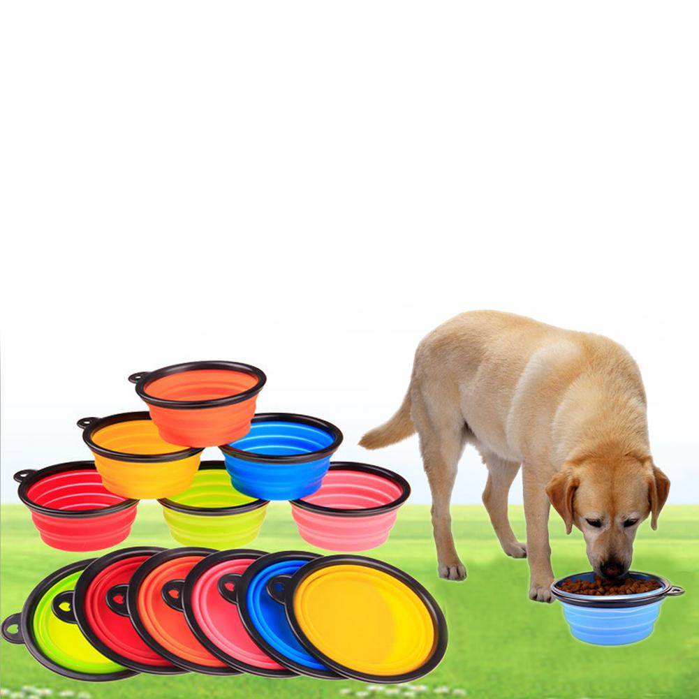 Foldable Pet Dog Cat Silicone Bowl Portable Collapsible Travel Feeding Bowl Water Dish Feeder Black Side Rubber Bowl