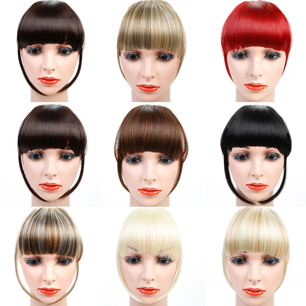 HOUYAN Synthetic Human Hair Bangs 6inch 8 Color Clip In Straight Remy Natural Fringe Hair For Fashion Adult Women