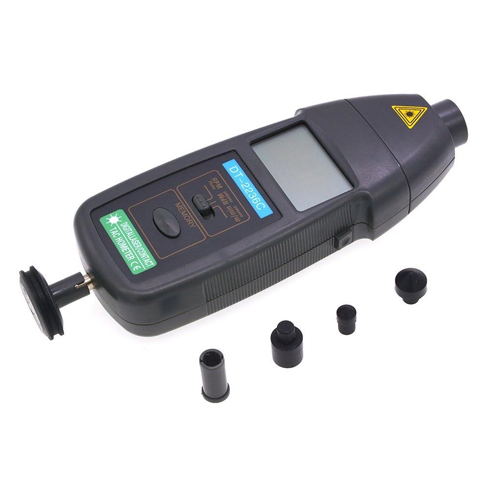 DT2236C 2 In 1 Speed Detector Meter Laser RPM Tachometer LED Digital Optical Contact Tachometer Detector Meter