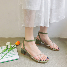 Liren 2019 Summer New Fashion Casual Elegant Women Sandals Buckle Square Mid High Heels Open Round Toe Comfortable Shoes