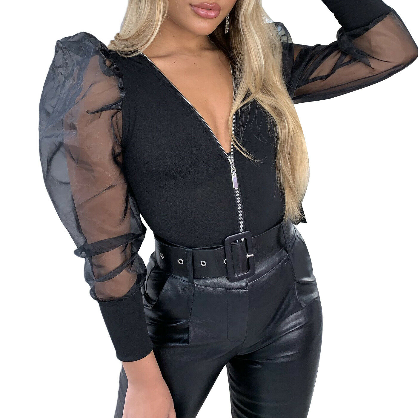 Women Mesh Sheer Puff Long Sleeve Shirt   Jumpsuit   Seamless Bodysuit Stretch Leotard Zipper Strappy V Neck Stretch Blouse Tops