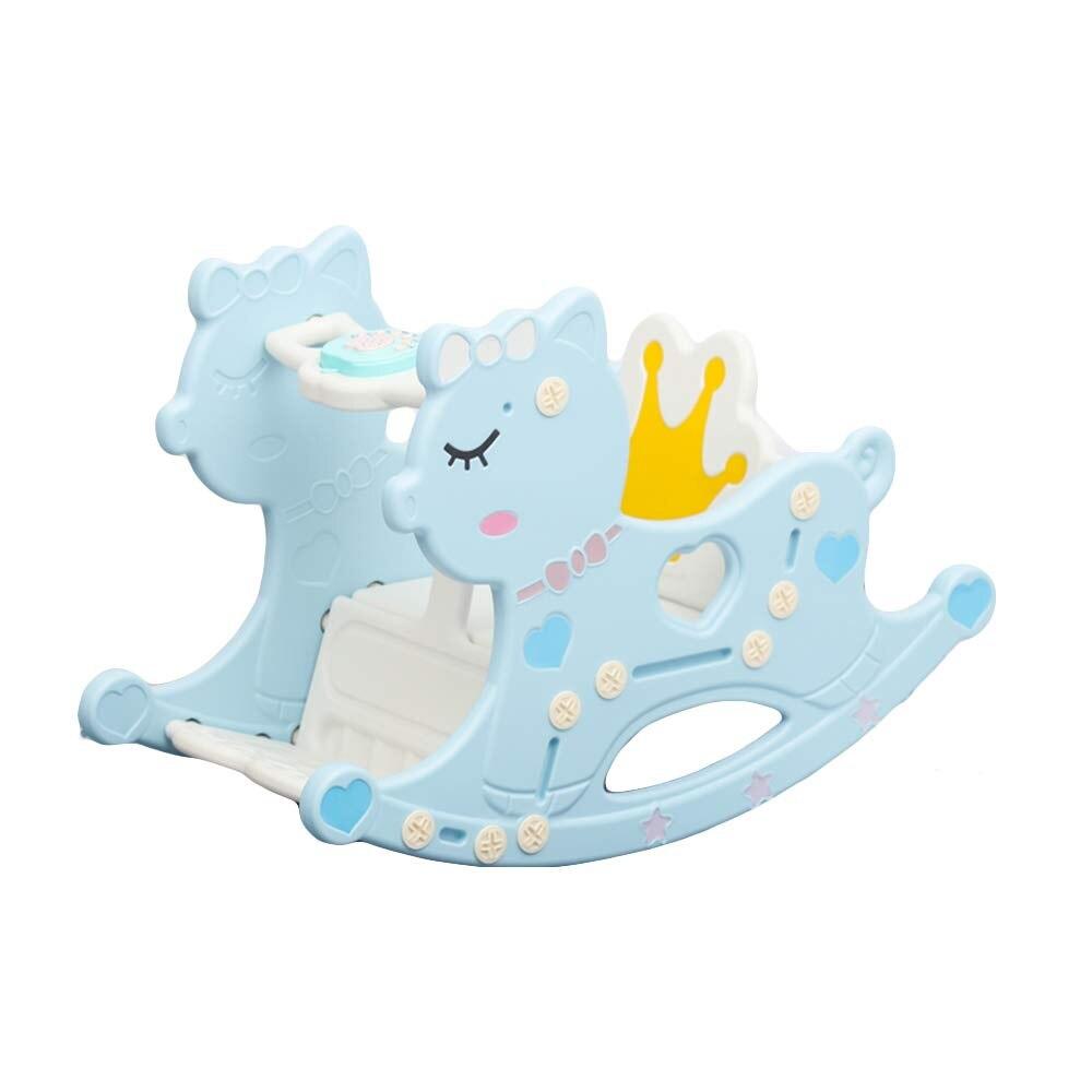 Chevaux à bascule en plastique mignons, tour éducatif de poney à bascule extérieur d'intérieur sur des rouleaux, grand cadeau d'anniversaire de jouet pour des enfants