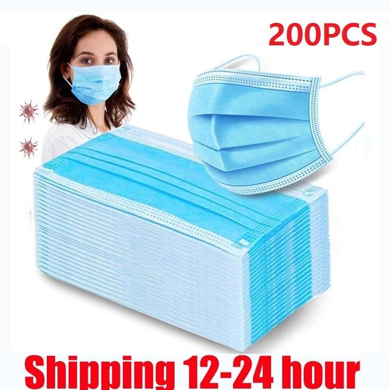 50-200 pièces masque jetable 3 couches masque médical Non-tissé filtre Anti-pollution visage Mascarilla adulte bleu bouche masque 4