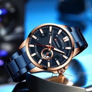 Image 3 - CURREN קוורץ עסקי גברים יוקרה שעון גברים של מותג נירוסטה שעוני יד Relogio Masculino עמיד למים שעון
