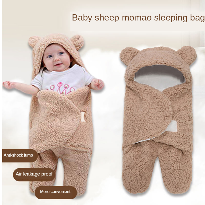0-12 Months Autumn Baby Sleeping Bag Envelope For Newborn Baby Winter Swaddle Blanket Wrap Cute Sleeping Bags Solid Baby Bedding
