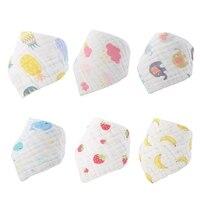 6Colors Baby Cute Cotton Bib 1Y 2Y Burp Cloth Drooling Teething Waterproof Bibs Cartoon Pattern Towels Baby Smock