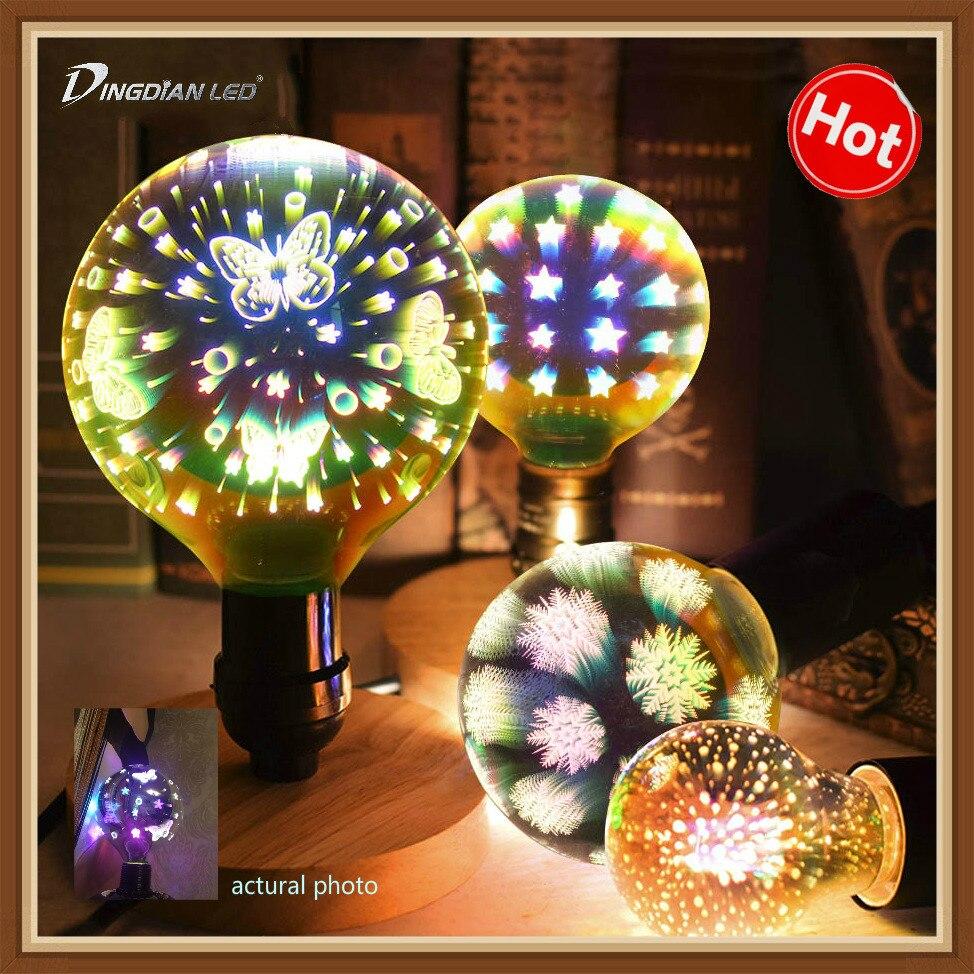 Creative 3D LED Bulb A60 G95 G125 Firework Butterfly Starry Sky Snowflake Dazzle Color Edison Bulbs E27 4W Xmas Decoration Light